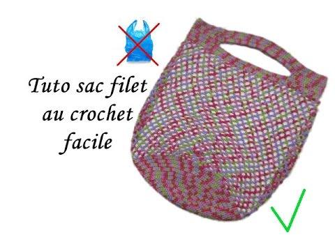 Tuto sac shopping filet au crochet facile crochet mesh bag - Tuto pour creer un sac en crochet ...