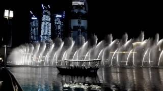 Dubai waterfall Christmas time 2016
