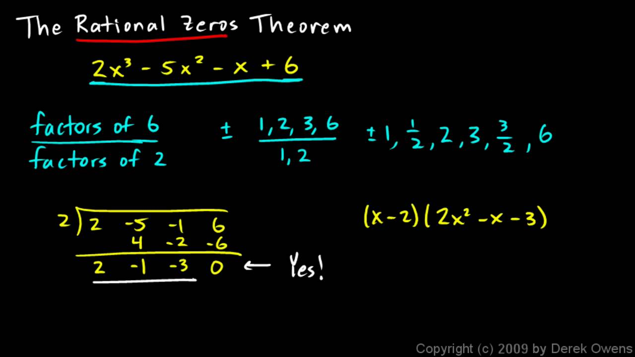 Algebra 2 607a The Rational Zeros Theorem Part 1 Youtube