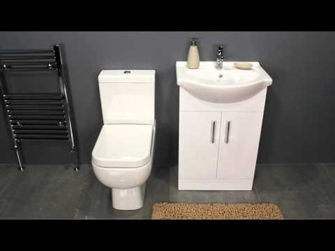 Gloss White Vanity Unit & Space Saving Toilet for Family Bathrooms