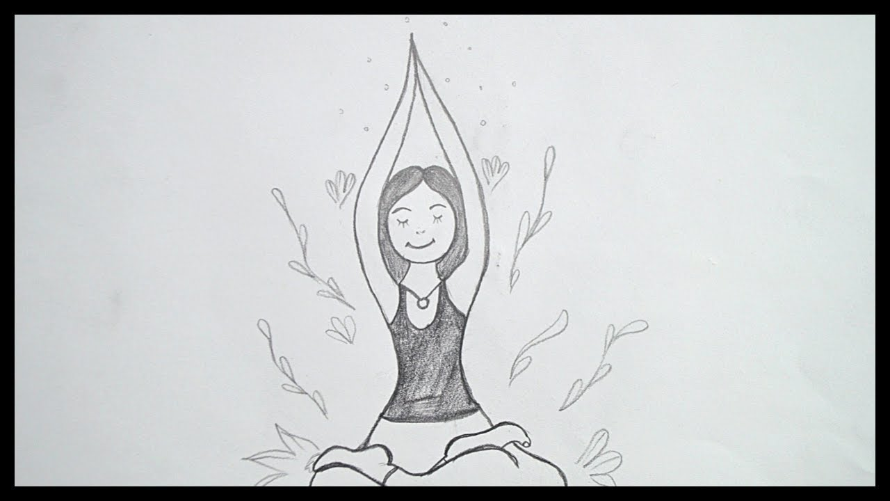 Yoga Day Drawing How To Draw International Yoga Day Drawing World Yoga Day Drawing Youtube