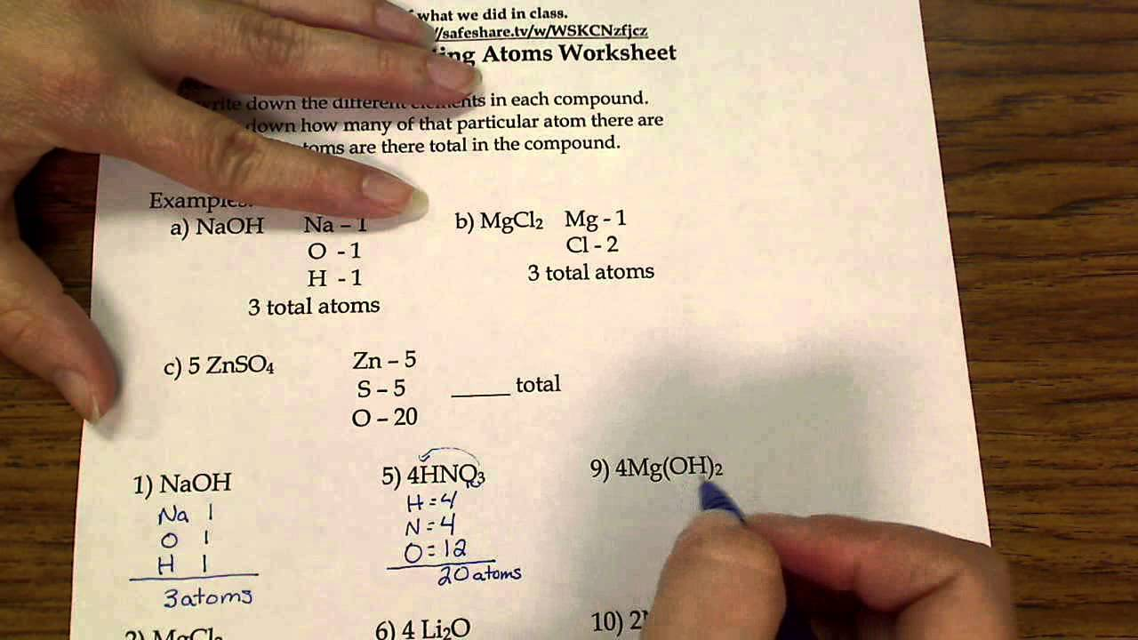 worksheet Counting Atoms Worksheet Grade 9 counting atoms youtube atoms
