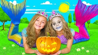 Sasha and Dad dress up for Halloween and run away from the mermaid zombie