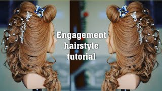 best engagement hair style   bridal hairstyle    (magic techniques by chandra prakash patel)