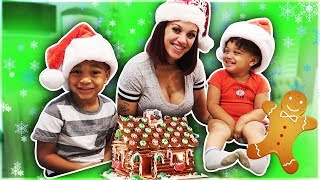 GINGERBREAD HOUSE CHALLENGE WITH THE KIDS | VLOGMAS DAY 2