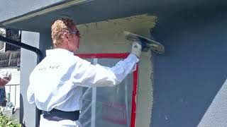 Rapid set stucco patch paint the patch the same day