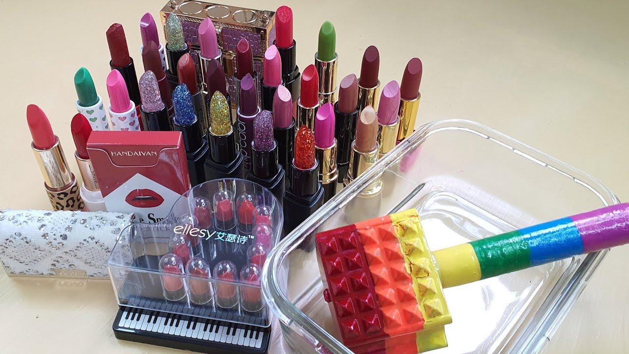 33 LIPSTICK SLIME Mixing '33 Lipsticks' Into Clear Slime,Satisfying slime videos ASMR