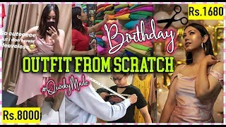 DIY: BIRTHDAY OUTFIT From Scratch! Rs.8000 dress for Rs.1680 #QuirkyMade | ThatQuirkyMiss