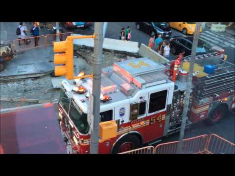 FDNY ENGINE 54 RESPONDING, THEN CANCELLED, ON WEST 47TH STREET IN TIMES SQUARE, MANHATTAN, NEW YORK.