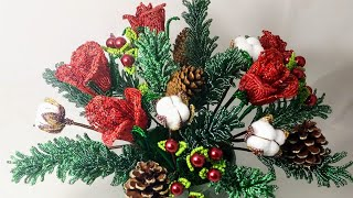 Новогодняя композиция из бисера Цветы из бисера Бисероплетение Christmas
