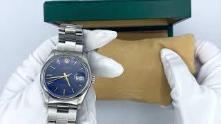 Vidéo: Montre Rolex Oyster Date Précision (ref 6694) mécanique de 1982 avec cadran bleu. Boite d'origine.