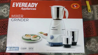 Eveready Glowy 500 W Mixer Grinder unboxing and review