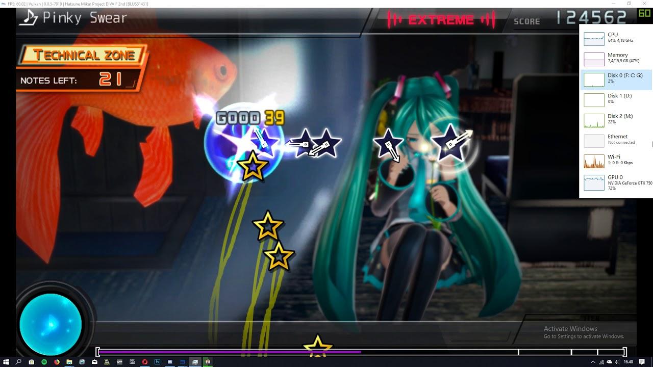 Hatsune Miku Project DIVA F 2nd - 60FPS Patch - RPCS3 - Extreme mode [v,v]
