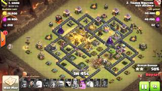 Clash of clans | đánh hall 9 combo gowivaho