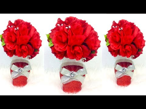 How To Create An Elegant Bling Red Centerpiece / DIY Inexpensive Glam Wedding Decor Ideas
