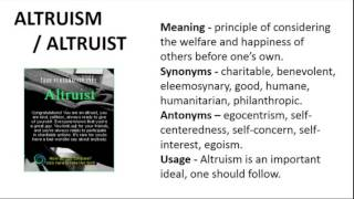 Vocabulary Made Easy  Meaning of Altruism, Synonyms, Antonyms and its Usage