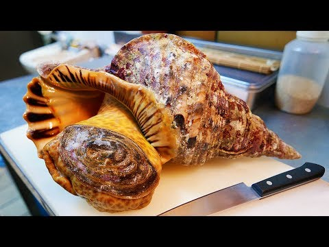Japanese Street Food - GIANT TRUMPET CONCH Sashimi Okinawa Seafood Japan
