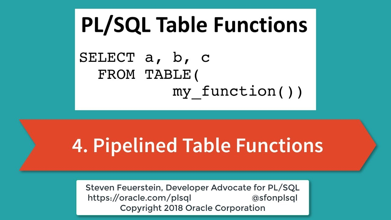 Getting Started with PL/SQL Table Functions: Pipelined Table Functions