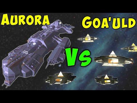 STARGATE - Ancient Aurora Battleship Vs many Goa'uld Hat'aks - Space Battles |