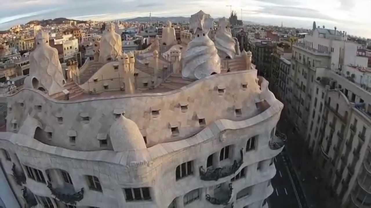 Casa Mil la Pedrera Antoni Gaud Barcelona  BCNDJI  DJI Phantom 2 Vision  footage  YouTube