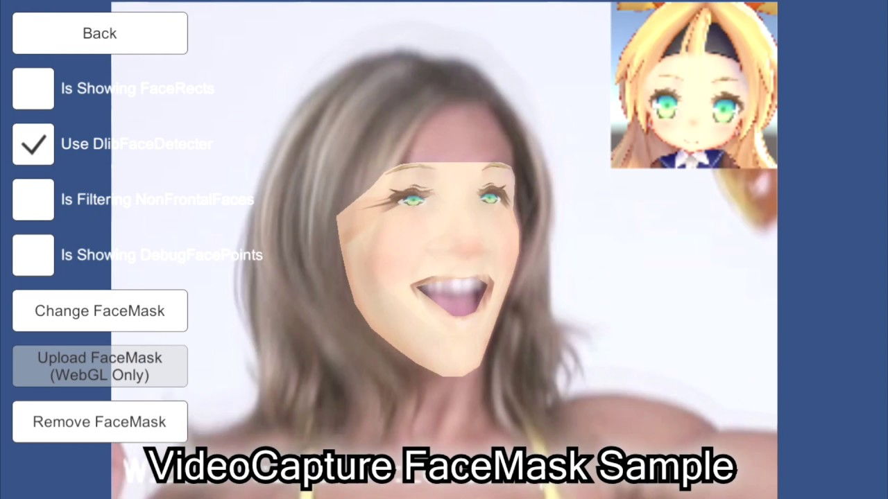 FaceMaskExample using OpenCV for Unity and Dlib FaceLandmark Detector