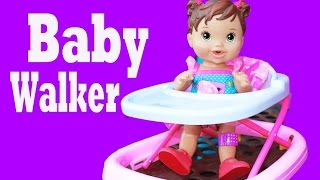 BABY WALKER Crazy Baby Alive Doll Goes Down Slides in Baby Walker at Park Toy Story Parody
