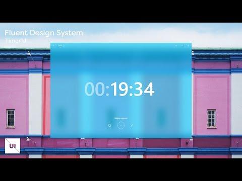 New Windows Fluent Design System Designed with Adobe Experience Design - Timer Page - Speedart