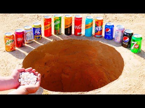 Mirinda, Coca Cola, Schweppes, Pepsi and other Popular Sodas vs Mentos Underground