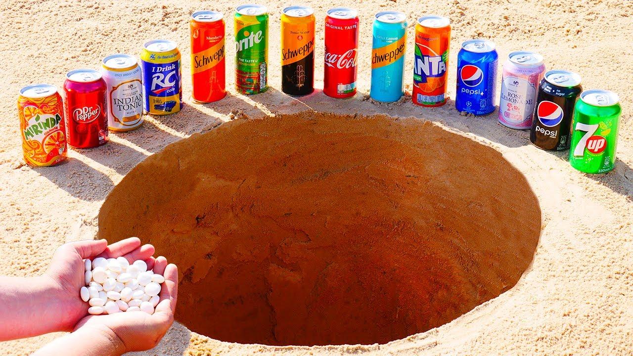 Download Mirinda, Coca Cola, Schweppes, Pepsi and other Popular Sodas vs Mentos Underground