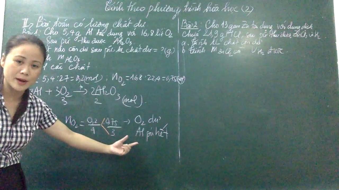 Tính theo phương trình hóa học có lượng chất dư
