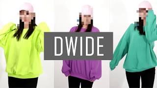 DWIDE 여자 오버 루즈핏 데일리 무지 맨투맨 티셔츠
