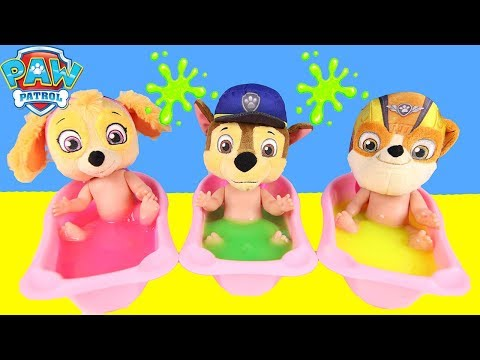 Nick Jr PAW PATROL Skye Bath Toys Halloween Pez Candy, Mashems, Slime Learn Colors | Ellie Sparkles