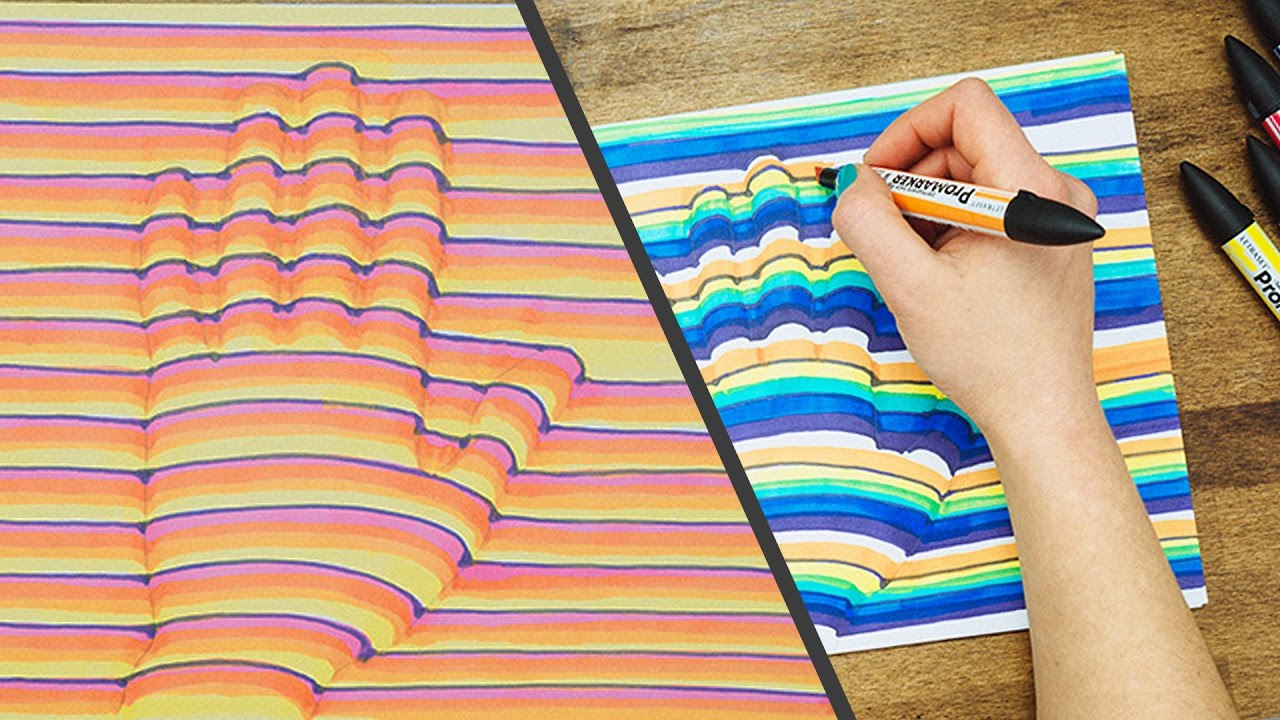 3d Hand Drawing Step By Step How To Trick Art Optical Illusion - Drie D Tekenen