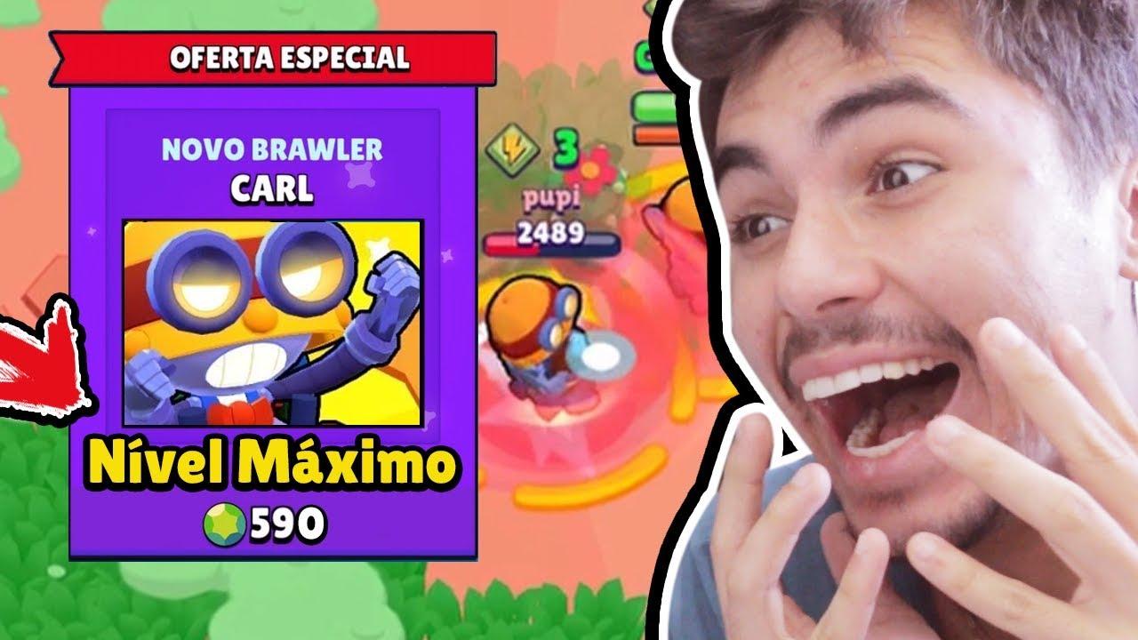 LIBEREI O NÍVEL MÁXIMO DO CARL NOVO BRAWLER DO BRAWL STARS