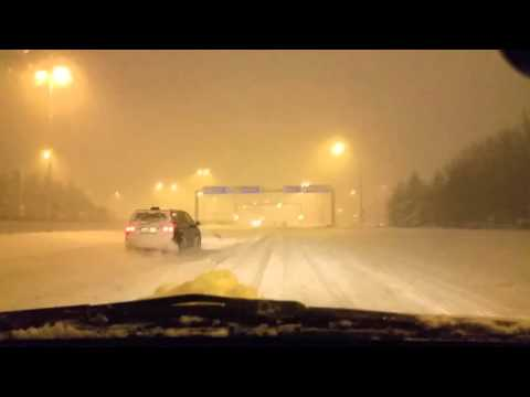Winter drive in Reykjavik, Iceland , snow has arrived!