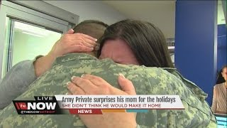 Army private surprises mother by coming home for the holidays