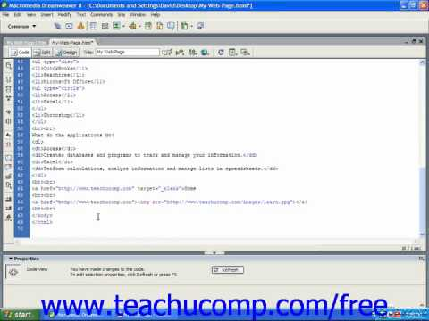 HTML Tutorial Linking To An Area On The Same Page (Named Anchors) Training Lesson 7.6