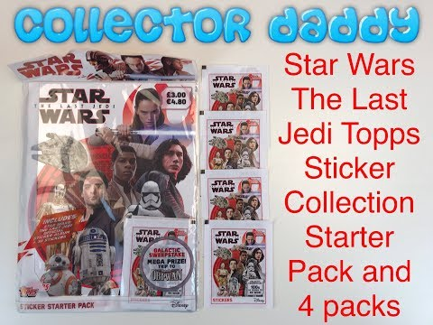 Star Wars The Last Jedi Topps Sticker Collection Starter Pack And 4 Packs