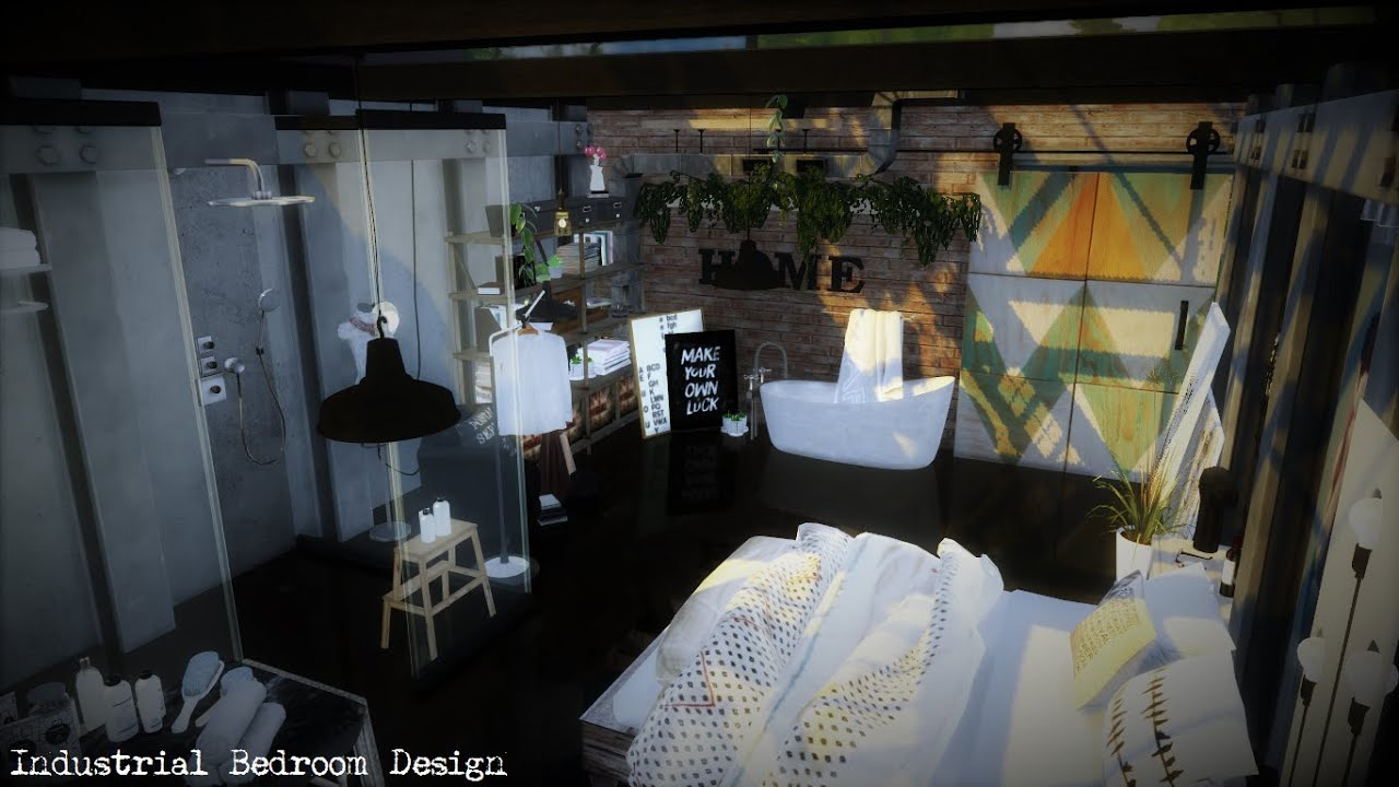 The Sims 4: Industrial Bedroom Design Ideas   YouTube