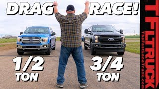 What's The Quickest Ford Truck? F-150 5.0L vs 2.7L vs F-250 Diesel Drag Race Extravaganza!
