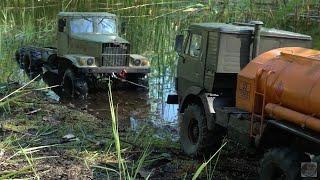 Russian truck Kraz 255 search \u0026 recovery mission Kamaz 4310 1:12 6x6 scale truck King Kong RC