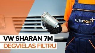 Kā nomainīt VW SHARAN 7M Degvielas filtrs [PAMĀCĪBA]