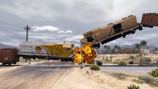 Gta v - train vs train epic crash tests high speed