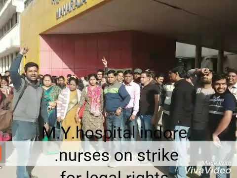 M.Y.  indore Nurses strike 15 January  2018 moments