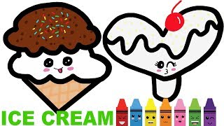 Learn Colors. Coloring Pages. Drawing For Kids Heart Popsicle, Ice Cream