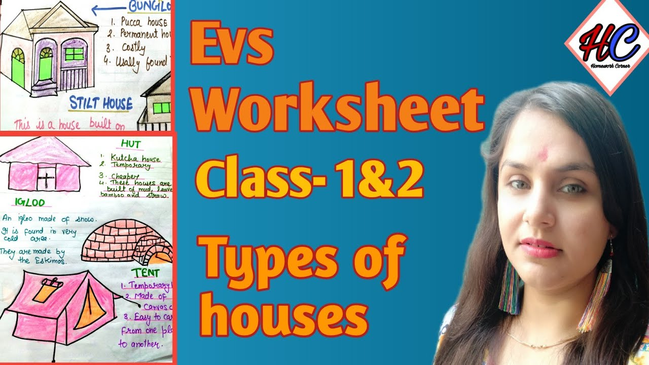 Types of Houses' Worksheet for class 1 and 2    Kutcha house and pucca house     evs for grade 1\u0026 2 - YouTube [ 720 x 1280 Pixel ]