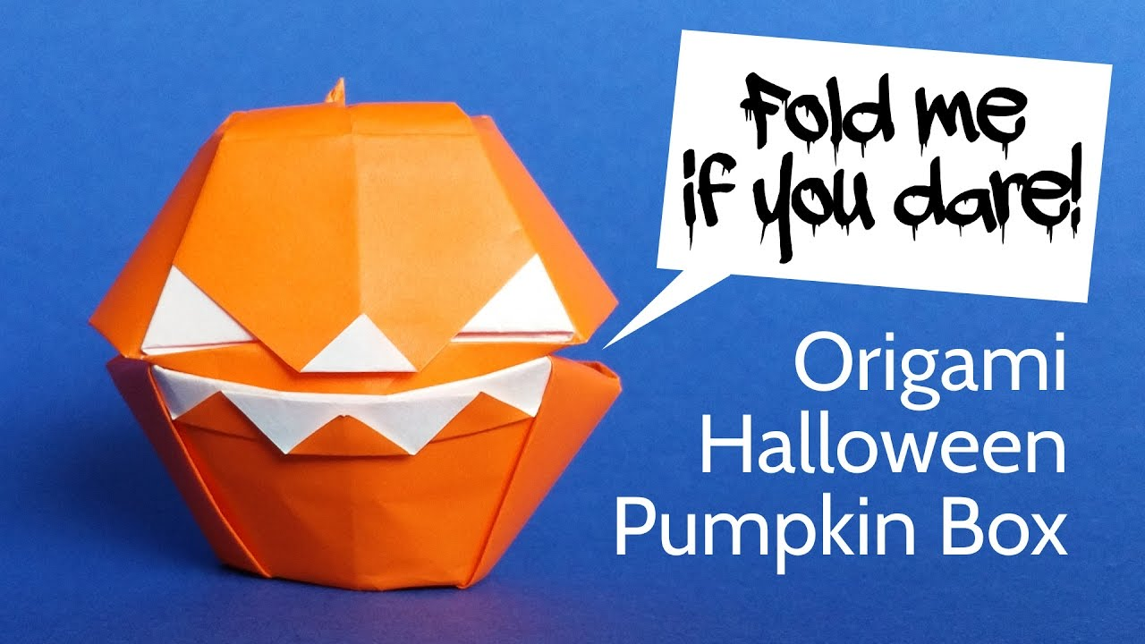scary origami pumpkin box diy halloween decoration youtube