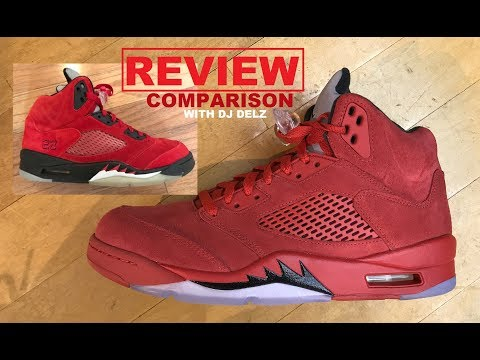 618096b26a12 Air Jordan 5 Red Suede 2017 Retro Sneaker REAL Review VS Toro Bravo  Comparison