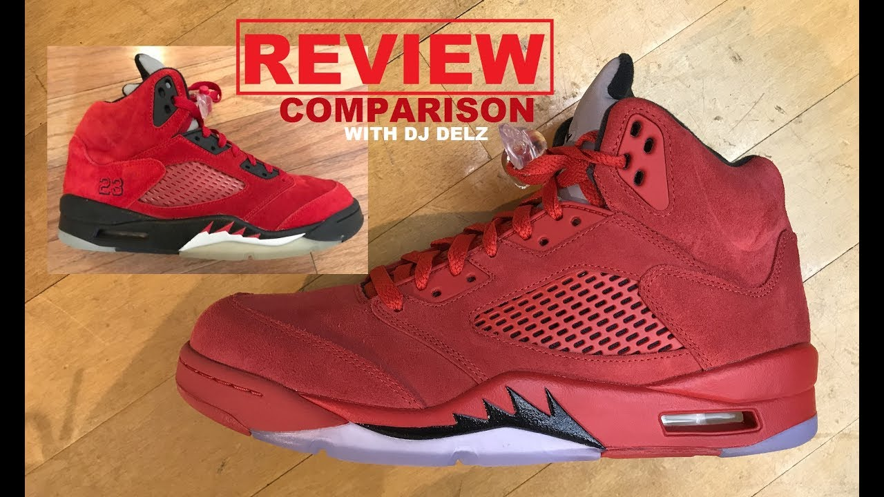 meet c0488 43a74 Air Jordan 5 Red Suede 2017 Retro Sneaker REAL Review VS Toro Bravo  Comparison