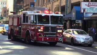 FDNY ENGINE 1 RETURNING TO QUARTERS ON WEST 31ST ST. IN MIDTOWN AREA OF MANHATTAN IN NEW YORK CITY.